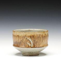 "Anthony Schaller | Tea Bowl | 3.5""x 5""x 5"" | Stoneware, manganese slip, cream glaze"