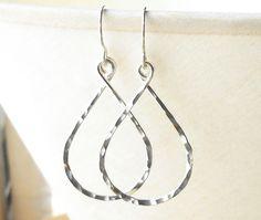 Hammered Silver Hoop Earrings, Sterling Silver Dangle Hoops, Wire Work Earrings