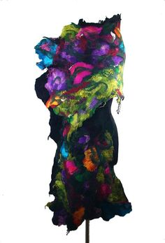 Large Felted Scarf  Long Wrap Scarves wearable art Felt Nunofelt turquoise tangerine black noir Nuno felt Silk Eco shawl Fiber Art. $149.00, via Etsy.
