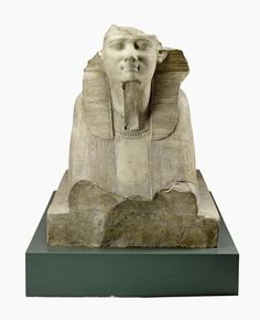 Sphinx of limestone with traces of pigment, showing King Ahmose wearing the nemes headdress: Ancient Egyptian, from the temple of Osiris, Abydos, New Kingdom, early 18th Dynasty, reign of Ahmose, c. 1550-1525 BC