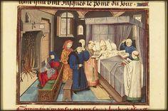 The Hague, KB, 76 F 10 fol. 42r The deathbed of St. Hubert of Liège