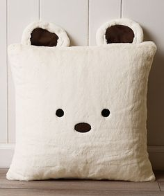 Look at this Cream Bear Plush Faux Fur Pillow on #zulily today!