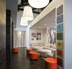 Lounge area at Yoga Six Point Loma, by Solomon Interior Design, Inc.