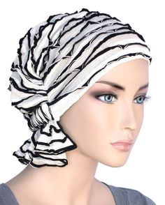 The Abbey Cap® #513 Ruffle White with Black Trim - Elegant Chemo Turban