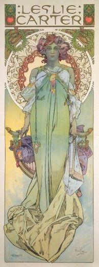 Alphonse Mucha (Czech,1860-1939) Leslie Carter (1908). Альфонс Муха (Чехия, 1860-1939) Лесли Картер (1908). 阿方斯-木栅 (捷克,1860-1939) Leslie Carter(1908)。