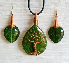 Tree of Life copper wire wrapped Green Leaf by RecycledBeautifully