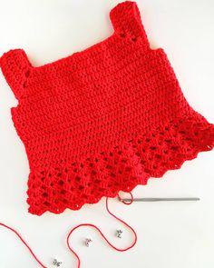Crochet Girls, Crochet Top, Cute Tops, Knitting, Summer, Red, Cotton, Handmade, Women