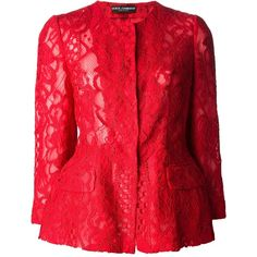 DOLCE & GABBANA floral lace peplum jacket (€2.650) ❤ liked on Polyvore featuring outerwear, jackets, farfetch, tops, lace jacket, peplum jacket, floral print jacket, red lace jacket and floral jacket