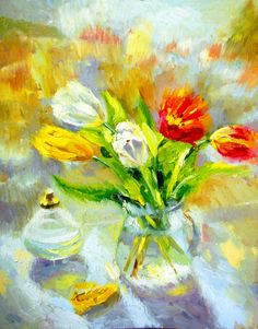 Tulips on the window  Palette Knife Oil Painting on by spirosart