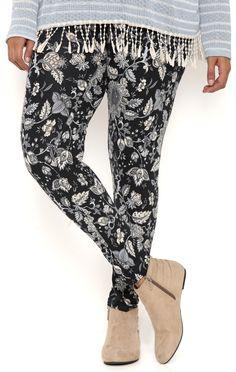 Deb Shops Plus Size Floral Boho Print Leggings $12.00