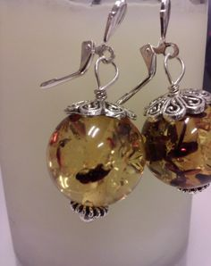 Flecked Amber Droplet Earrings  Amber Round Beads by nlmdesigns, $16.96