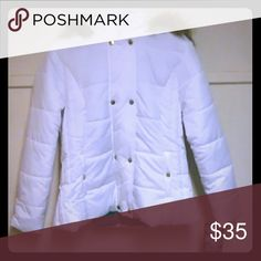 White coat White on the outside with gold color buttons , green  inside and faux fur. Krush Jackets & Coats Pea Coats