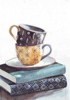 ♔ livres-tasse-saucer