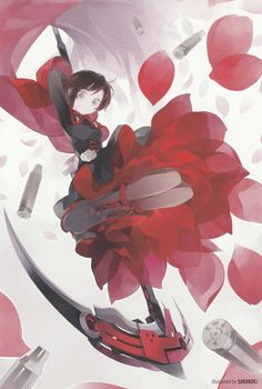 Ruby Rose illustration from the Official Japanese RWBY Fanbook by Shihou