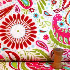 Kumari Garden Holiday Kamal In Red Fabric By Dena Designs FreeSpirit 1 Yard  DF93