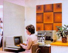 Woman on Computer 1985 Varsey Photo Painting Art