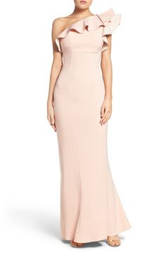 Maria Bianca Nero Colorblock One-Shoulder Gown available at #Nordstrom