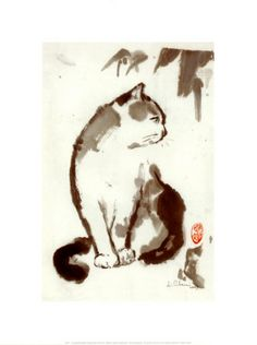 Sunmi-e (Japanese ink painting). Smart Cat by Hu Chen. (Sumi-e aims to capture the essence of things).