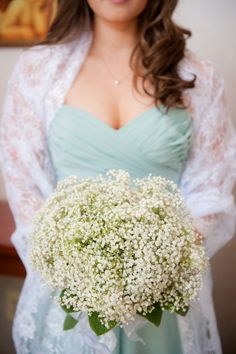 Teal bridesmaids dresses & babys breath bouquets. From Chris & Vida's beautifully simplistic, teal & sea foam green, springtime wedding in Northern Virginia. Images by Kelly Ewell Photography.