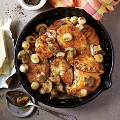 Chicken Cutlets with Mushrooms and Pearl Onions Recipe | MyRecipes.com