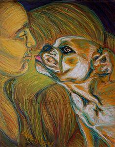 "D. Renée Wilson  ""Kisses""  pro-bono memorial Pawtrait of Otis the bulldog"