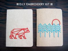 DIY Embroidery Kit In The Woods  Set of Two by CuriousDoodles, $20.00