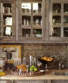 Rustic stonework & cabinets in mountain home - Jane Schwab, Circa Interiors