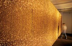 Felix Gonzales Torres, Untitled (golden), - when i walked through a rendition of this piece at the Chicago art museum i almost cried love his work. Felix Gonzalez Torres, Beaded Door Curtains, Art Beat, Chicago Art, Light Installation, Art Installations, Contemporary Artists, Objects, Sculpture