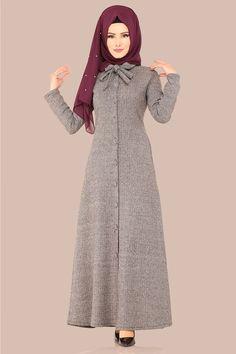 Modaselvim ELBİSE Fular Detay Elbise Ferace UKB4032 Vizon