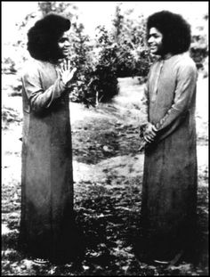 Old rare picture of Sri Sathya Sai Baba.  He materialized this picture for a group of students to always remember they are Divine & person they are interacting with is also Divine.  Also, they should try to be the listener rather than the talker.  They should try to be good always.