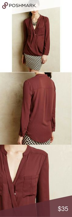 Maeve Eva Wrap blouse, Anthropologie Anthropologie Maeve blouse. EUC. Flowy, lightweight, slightly sheer. 100% polyester. Pullover styling with a button closure. Deep wine or rust red color. Anthropologie Tops Blouses