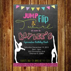 Gymnastics Invitation - Gymnastics Birthday Invitation by SimplyKayleeDesigns on Etsy https://www.etsy.com/listing/255524258/gymnastics-invitation-gymnastics