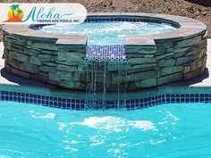 """Pearl 1a: The Pearl Spa is a true gem. Its thoughtfully designed spillover incorporates well into any pool and offers a waterfall-line element desired for any backyard. The Pearl is 7'6"""" round and is 36"""" deep.  For more information about Aloha Fiberglass Pools or to find a local pool builder in your area that can assist you, visit www.AlohaFiberglassPools.com or call (800) 786-2318."""