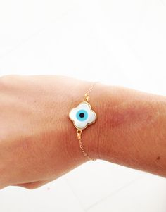 Gold and pearl evil eye clover bracelet by BiancaMilovJewelry, $40.00