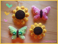 CreatiVALove handmade. Girasoli e farfalle in pannolenci.