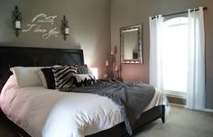 Gray Bedroom, White Bedding, Dark Furniture. LOVE