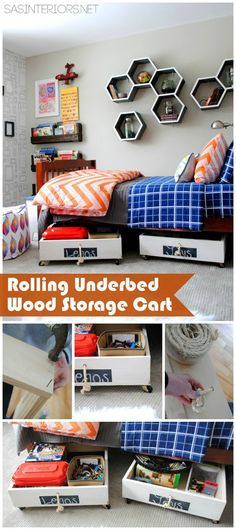 DIY Tutorial for a Rolling Underbed Wood Storage Cart! The perfect solution for holding toys + stuff. Less than $10 to make compared to $40+ to buy!