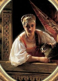 Russian Folk, Russian Art, Russian Ladies, Russian Style, Russian Traditional Dress, Russian Fashion, Cat Art, Female Art, Princess Zelda