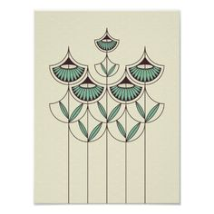 Poster with Blooming Winter pattern design, an elegant geometric flower pattern in pale yellow and winter green color theme. Motifs Art Nouveau, Design Art Nouveau, Motif Art Deco, Art Nouveau Flowers, Art Nouveau Pattern, Art Deco Print, Geometric Patterns, Geometric Flower, Art Patterns