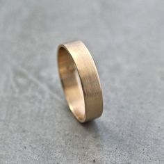 Men's Gold Wedding Band, Unisex 5mm Wide Brushed Flat 10k Recycled Yellow Gold Wedding Ring Gold Ring -  Made in Your Size