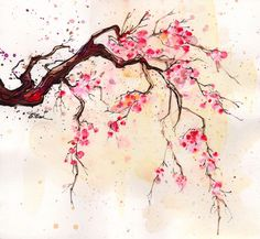 watercolor art. I like this for a tattoo idea - if I'm ever brave enough, it would definitely be cherry blossoms.