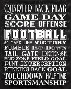 Printable FOOTBALL Typography Subway Art Wall by DesignsbyLindaNee,