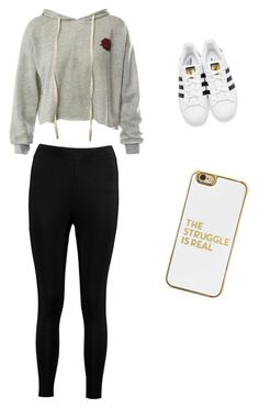 """Lazy day wear 💘"" by annakasudiro on Polyvore featuring Sans Souci, Boohoo, adidas Originals and BaubleBar"