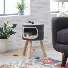Boomer & George Cheshire Modern Cat Bed - Gray