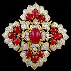DAVID WEBB Cabochon Ruby & Diamond Brooch - Yafa Jewelry