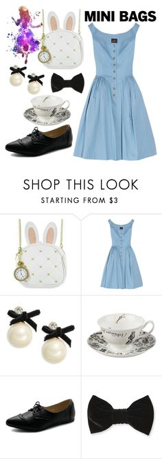 """""""Mini Bags - Alice In Wonderland"""" by pinkypenguin04 ❤ liked on Polyvore featuring Loungefly, Vivienne Westwood Anglomania, Kate Spade, Ollio and Forever 21"""