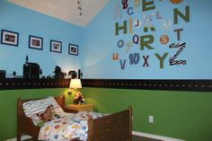 The wall colors with the road in between them would be perfect for Cooper. I especially love the letters on the wall.