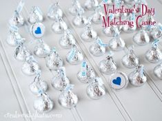 Turn Hershey's kisses into a game of matching.  Simply print out the darling matching game printable and attach to the bottom of the Hershey's kisses.