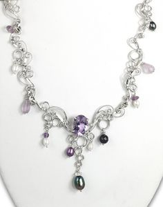 "New design ""Fruit on the Vine"" necklace ...handmade sterling silver and amethyst! --Jeannius Designs"