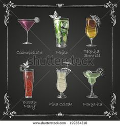 Illustration about Mai tai cocktail in vintage style stylized drawing with chalk on blackboard. Illustration of background, cocktail, ingredients - 50229668 Chalkboard Print, Chalkboard Lettering, Cocktails Drawing, Chalk Menu, Chalk Art, Margarita, Famous Cocktails, Cocktail Illustration, Pumpkin Vector